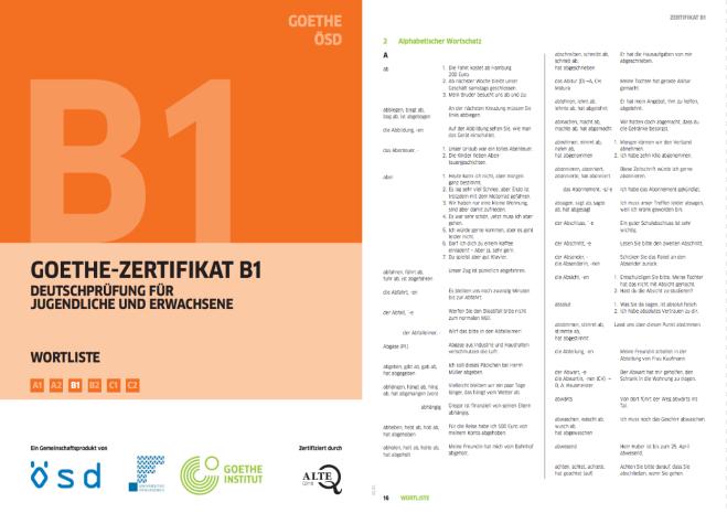 독일어 Goethe Zertifikatzd B1시험 단어공부 자료 링크 다운로드